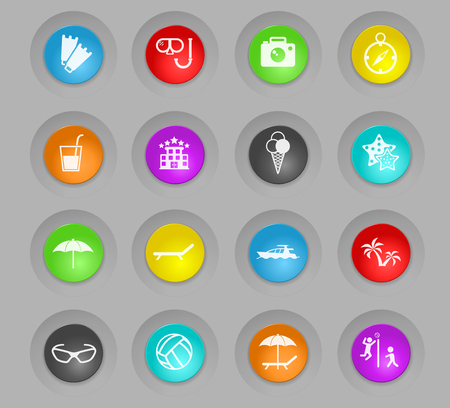 beach colored plastic round buttons vector icons for web and user interface design