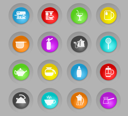 utensils for beverages colored plastic round buttonsvector icons for web and user interface design
