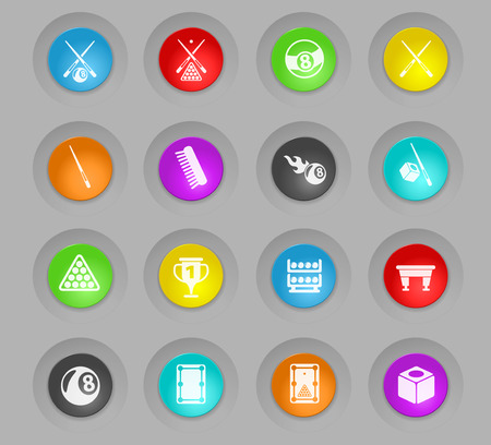 billiard colored plastic round buttons vector icons for web and user interface design