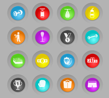 boxing colored plastic round buttons vector icons for web and user interface design