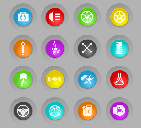 car shop colored plastic round buttons vector icons for web and user interface design