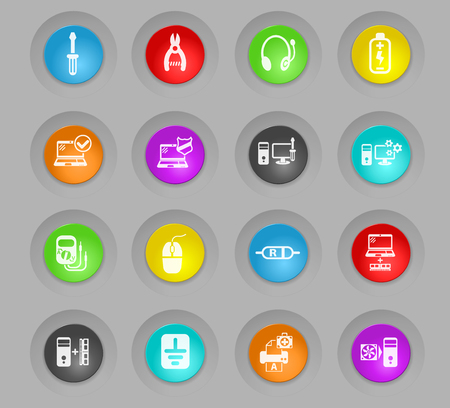 computer repair colored plastic round buttons web icons for user interface design Illustration