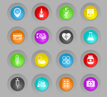 drug store colored plastic round buttons vector icons for web and user interface design