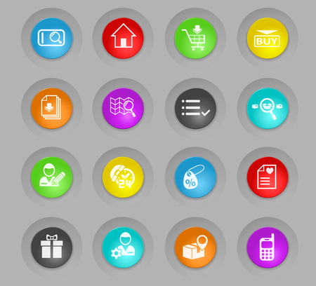 e-commerce interface colored plastic round buttons web icons for user interface design