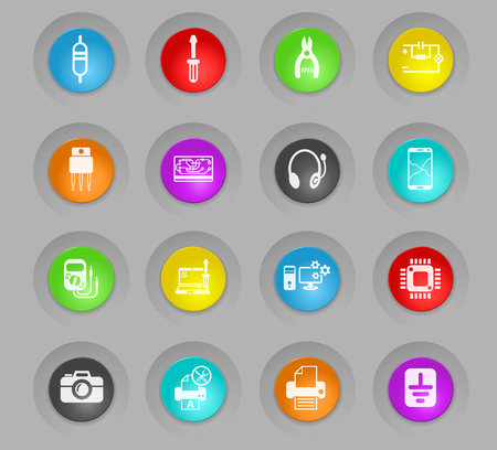 electronics repair colored plastic round buttons web icons for user interface design