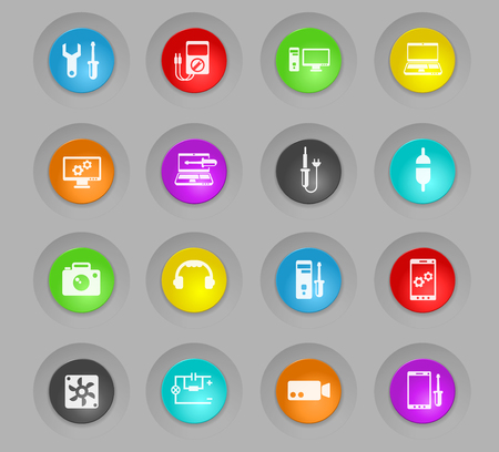 electronics repair colored plastic round buttons vector icons for web and user interface design
