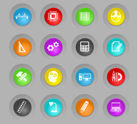 engineering colored plastic round buttons vector icons for web and user interface design Illustration