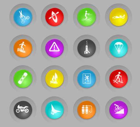 extreme sport colored plastic round buttons web icons for user interface design