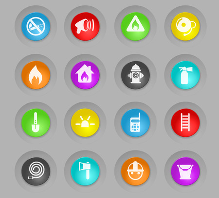 fire brigade colored plastic round buttons vector icons for web and user interface design Illustration