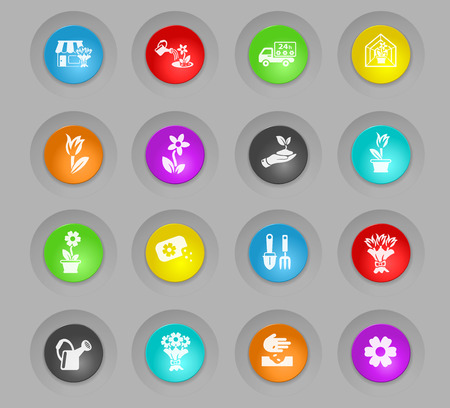flowers colored plastic round buttons web icons for user interface design