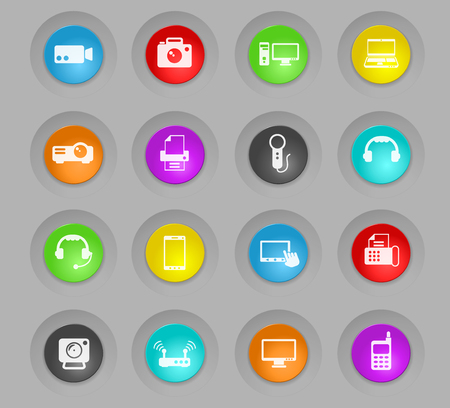 gadget colored plastic round buttons vector icons for web and user interface design Illustration