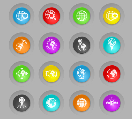 globes colored plastic round buttons vector icons for web and user interface design