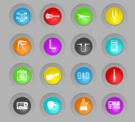 guitar and accessories colored plastic round buttons web icons for user interface design