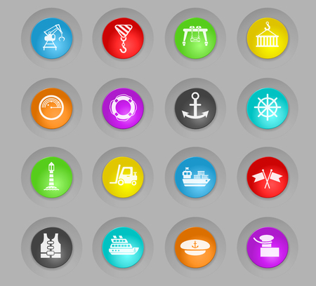 harbor colored plastic round buttons web icons for user interface design Illustration