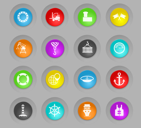 harbor colored plastic round buttons vector icons for web and user interface design