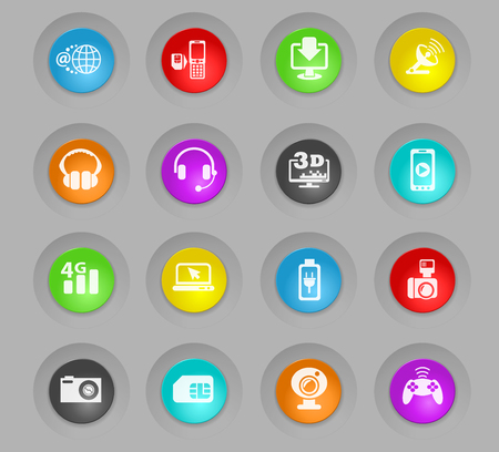 hi tech colored plastic round buttons web icons for user interface design
