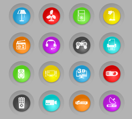 home appliances colored plastic round buttons vector icons for web and user interface design