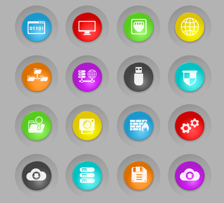 hosting provider vector icons for web and user interface design Illustration