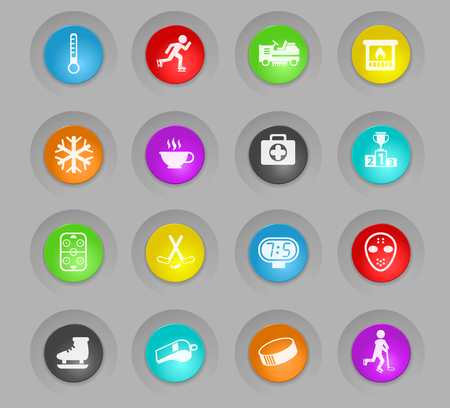 ice rink colored plastic round buttons vector icons for web and user interface design