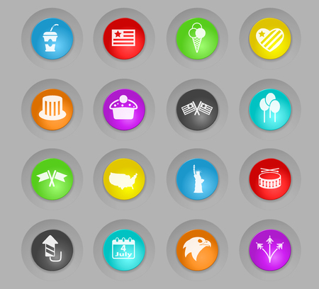 independence day colored plastic round buttons vector icons for web and user interface design