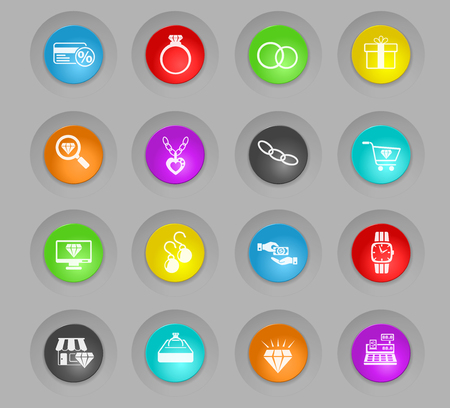 jewerly store colored plastic round buttons web icons for user interface design