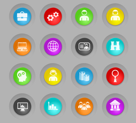 management colored plastic round buttons vector icons for web and user interface design