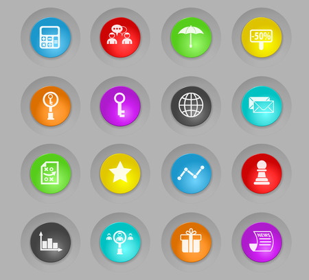 marketing colored plastic round buttons vector icons for web and user interface design