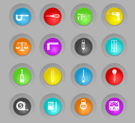 measuring tools colored plastic round buttons web icons for user interface design Illustration