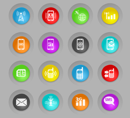 mobile connection colored plastic round buttons web icons for user interface design Illustration