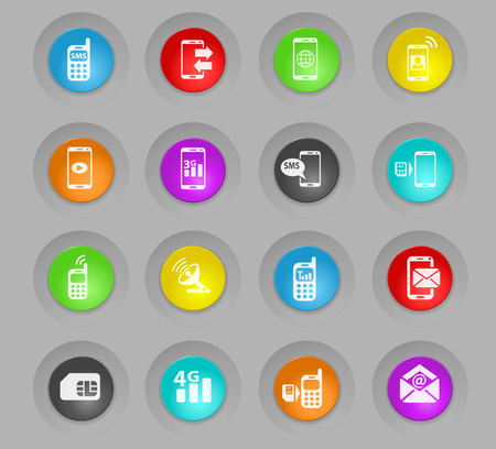 mobile connection colored plastic round buttons web icons for user interface design 矢量图像