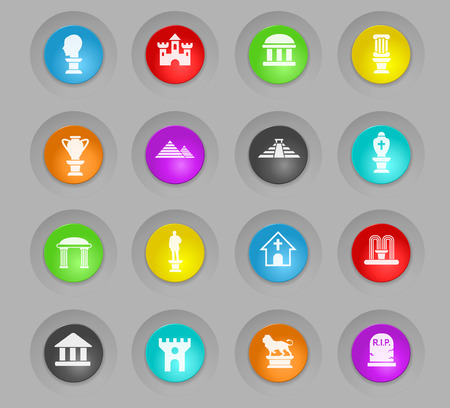 monuments colored plastic round buttons web icons for user interface design Illustration