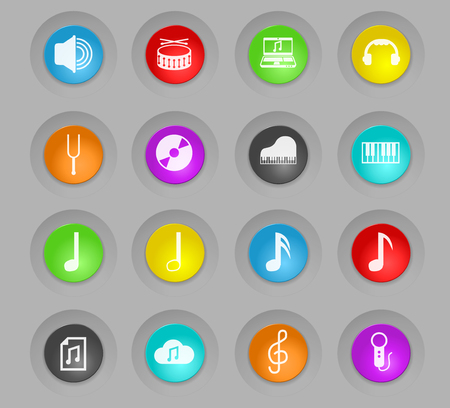 music colored plastic round buttons vector icons for web and user interface design