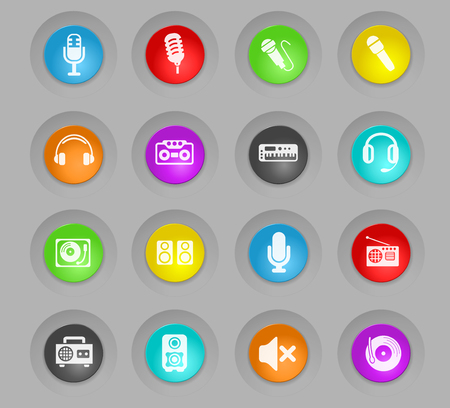 musical equipment colored plastic round buttons web icons for user interface design Illustration