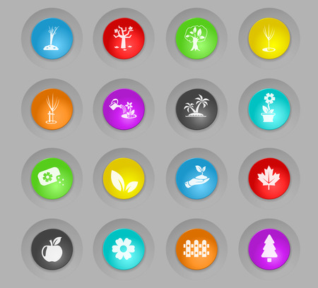 plants measuring tools colored plastic round buttons web icons for user interface design Stock Vector - 110096923