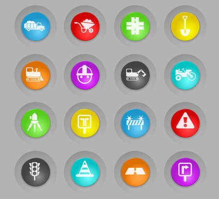 road repairs colored plastic round buttons vector icons for web and user interface design