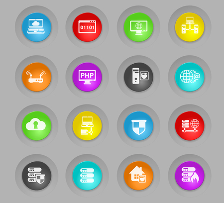 server colored plastic round buttons vector icons for web and user interface design