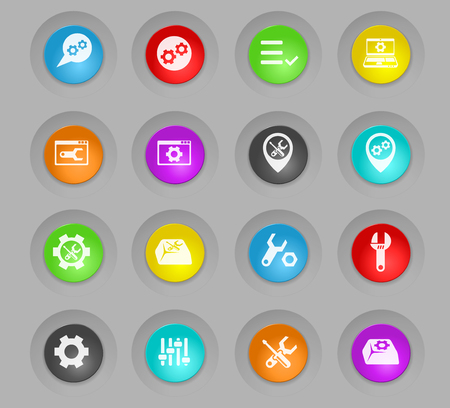 settings colored plastic round buttons vector icons for web and user interface design