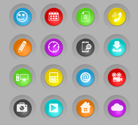social media colored plastic round buttons vector icons for web and user interface design