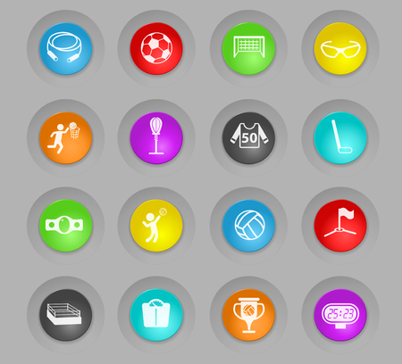sport colored plastic round buttons vector icons for web and user interface design