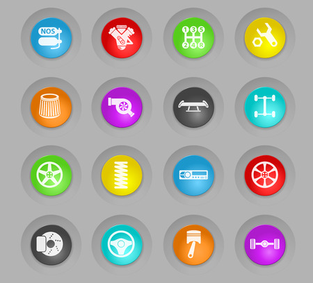 auto tuning colored plastic round buttons vector icons for web and user interface design