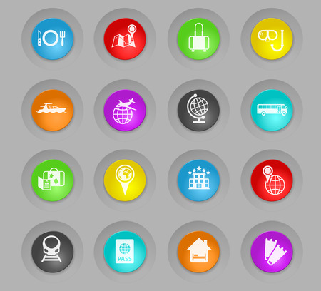 travel colored plastic round buttons vector icons for web and user interface design