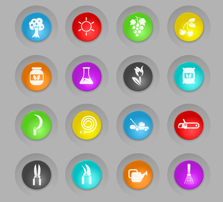 gardening colored plastic round buttons vector icons for web and user interface design