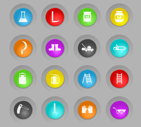 garden tools colored plastic round buttons vector icons for web and user interface design Illustration