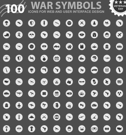 War symbols icons for web and user interface design Ilustração