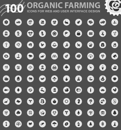 Organic farming icons for web and user interface design  イラスト・ベクター素材