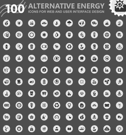 Alternative energy icons for web and user interface design