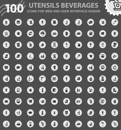 Utensils beverages icons for web and user interface design