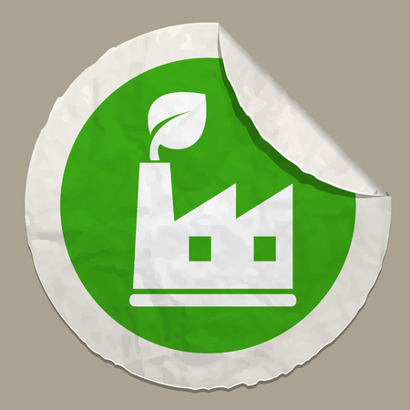 green energy symbol realistic paper sticker with curved edge