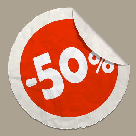 50 percent discount icon realistic paper sticker with curved edge Illustration