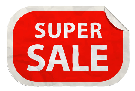 super sale icon on paper label realistic paper sticker with curved edge